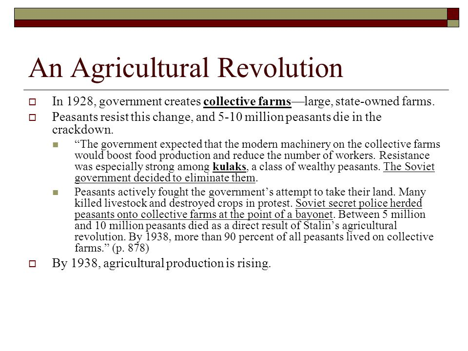 An Agricultural Revolution  In 1928, government creates collective farms—large, state-owned farms.  Peasants resist this change, and 5-10 million pe