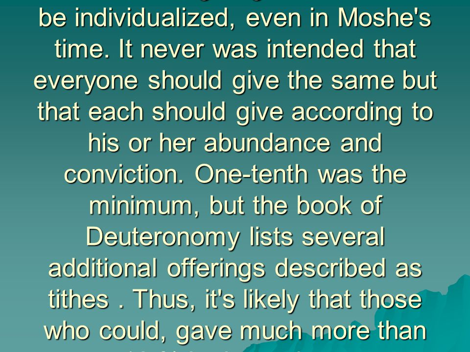 I believe that giving was meant to be individualized, even in Moshe's time. It never was intended that everyone should give the same but that each sho