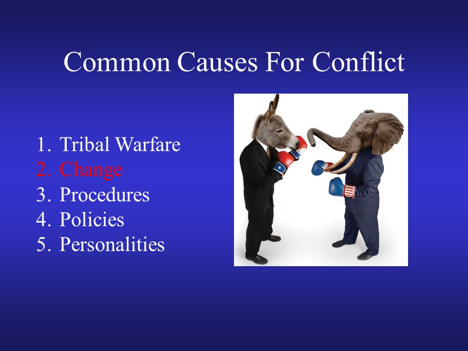 Common Causes For Conflict 1.Tribal Warfare 2.Change 3.Procedures 4.Policies 5.Personalities