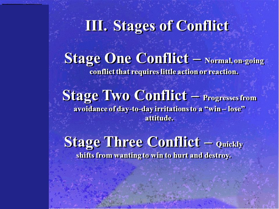 III.Stages of Conflict Stage One Conflict – Normal, on-going conflict that requires little action or reaction. Stage Two Conflict – Progresses from av