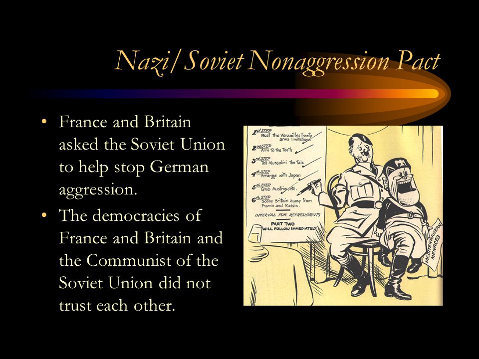 Nazi/Soviet Nonaggression Pact France and Britain asked the Soviet Union to help stop German aggression. The democracies of France and Britain and the
