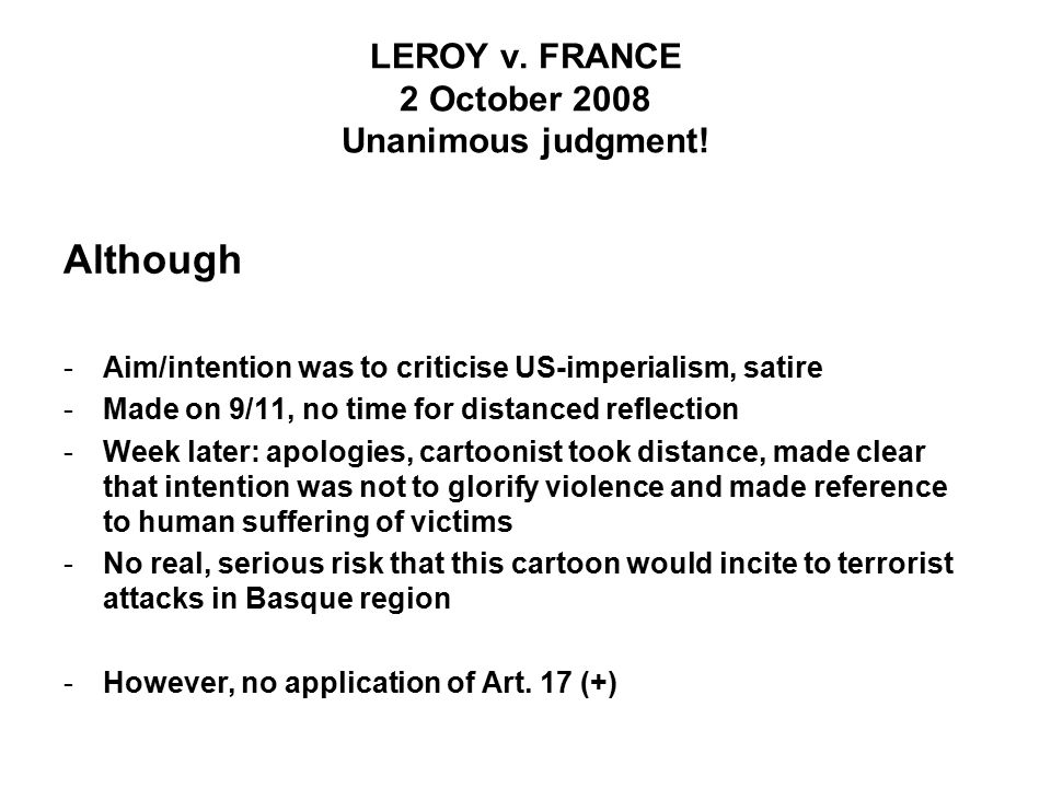 LEROY v. FRANCE 2 October 2008 Unanimous judgment.