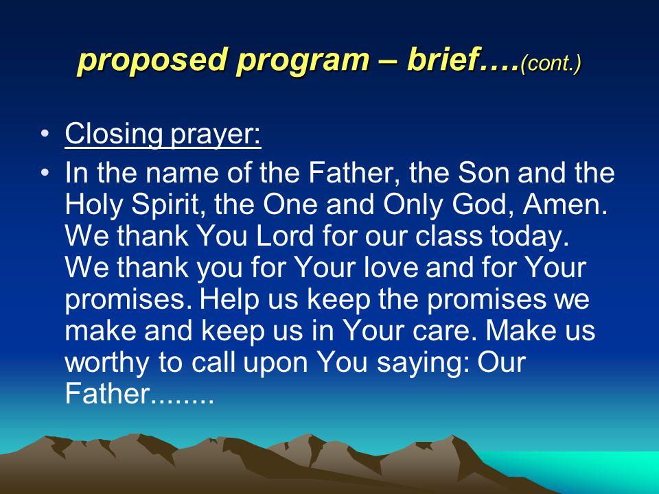 proposed program – brief….