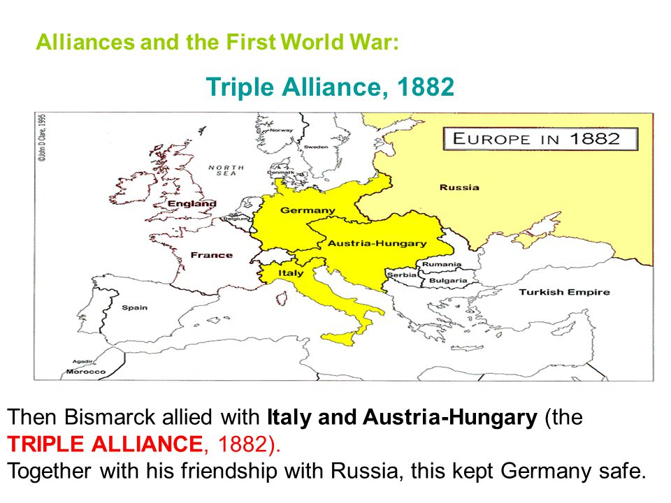 Alliances and the First World War: Three Emperors' League, 1881 In the 19 th century, Germany's brilliant Chancellor, Bismarck, solved this problem by