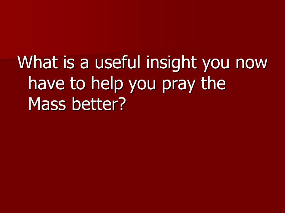 What is a useful insight you now have to help you pray the Mass better?