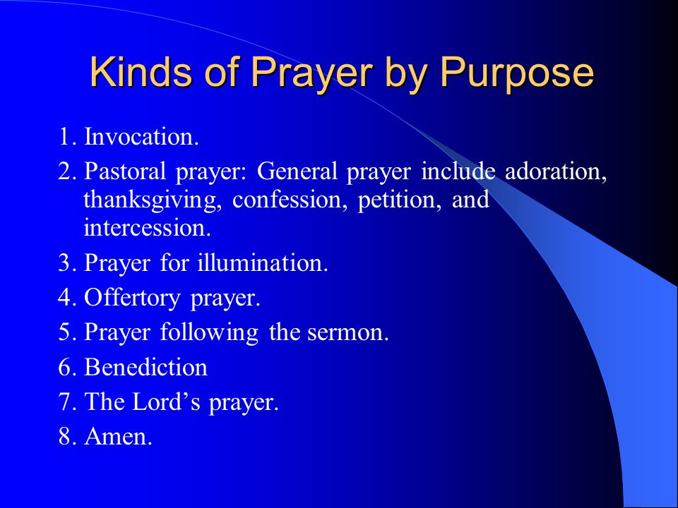 Kinds of Prayer by Purpose 1. Invocation. 2.