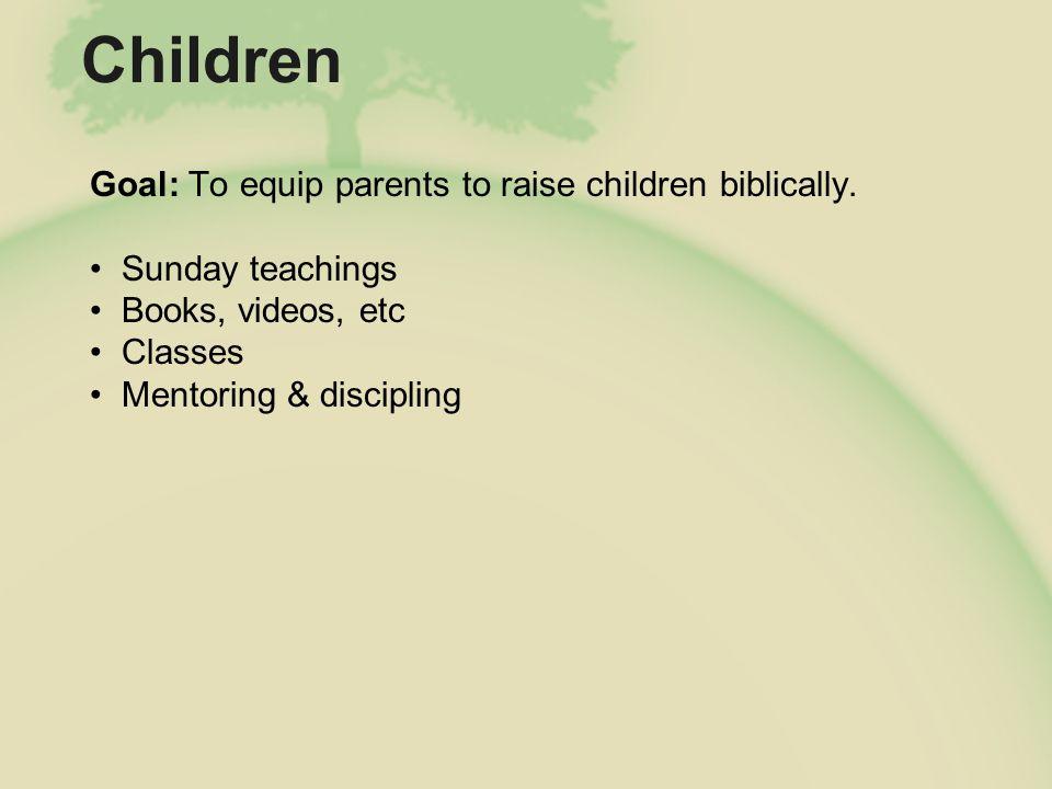 Children Goal: To equip parents to raise children biblically.