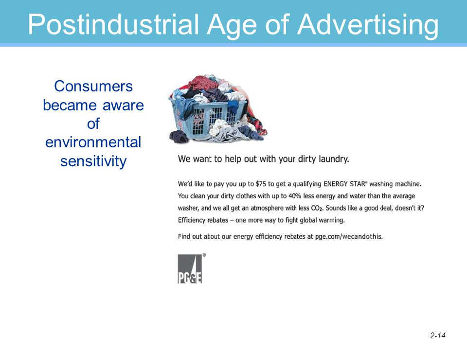 2-14 Postindustrial Age of Advertising Consumers became aware of environmental sensitivity