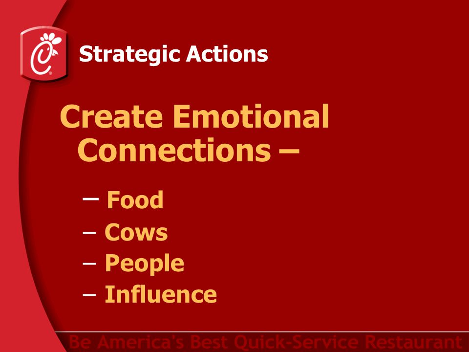 Strategic Actions Create Emotional Connections – – Food – Cows – People – Influence