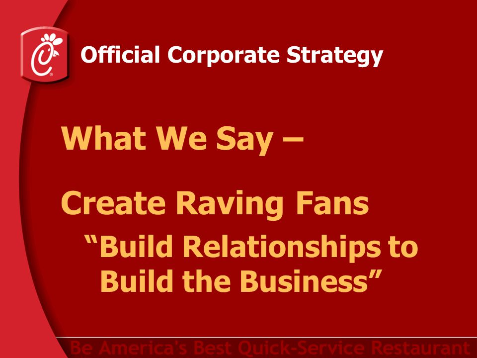 Official Corporate Strategy What We Say – Create Raving Fans Build Relationships to Build the Business