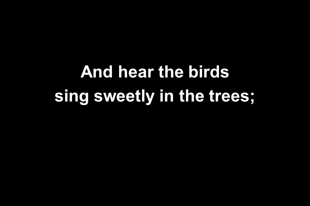 And hear the birds sing sweetly in the trees;