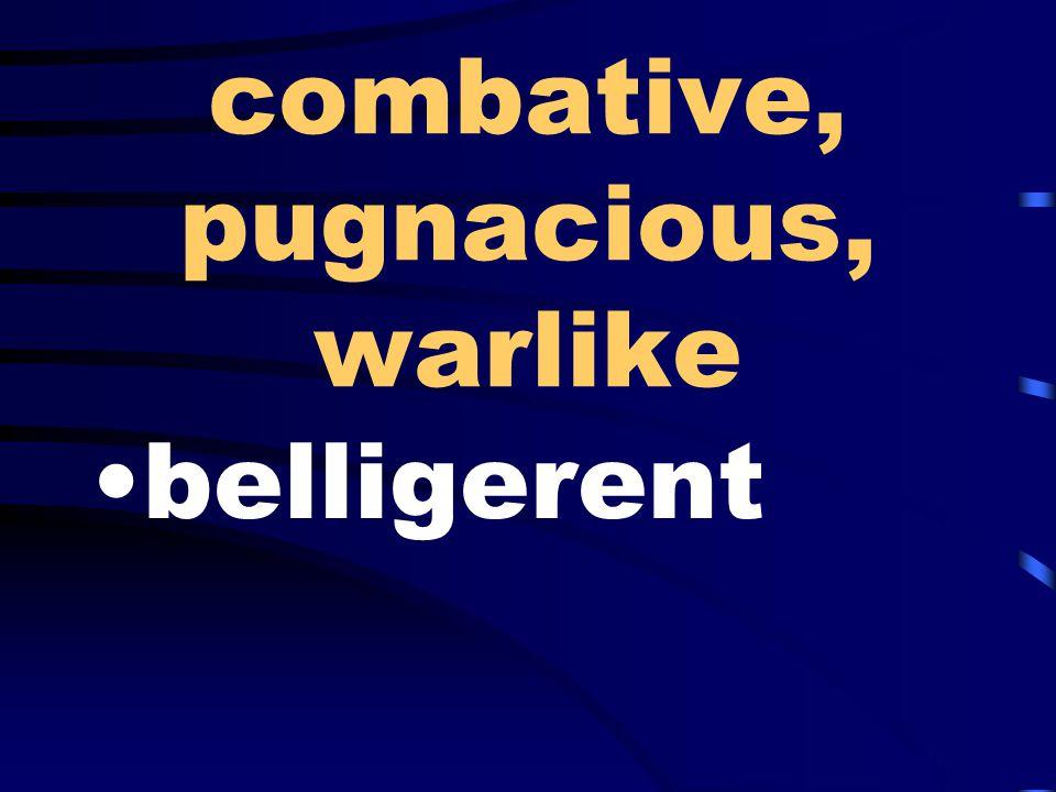 combative, pugnacious, warlike belligerent