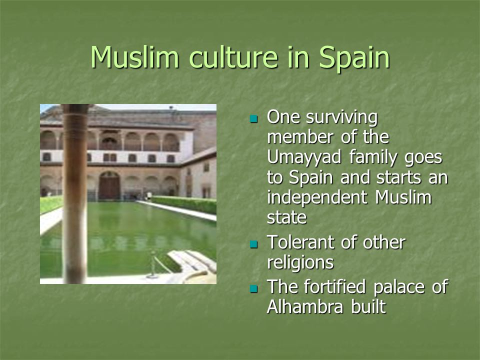 Muslim culture in Spain One surviving member of the Umayyad family goes to Spain and starts an independent Muslim state One surviving member of the Um