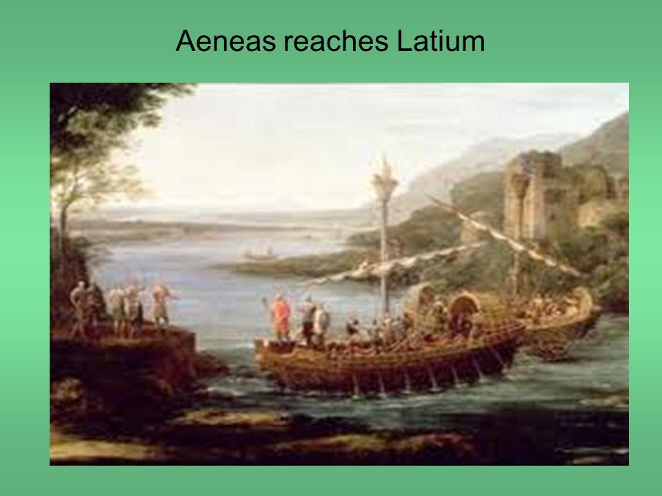 Aeneas reaches Latium