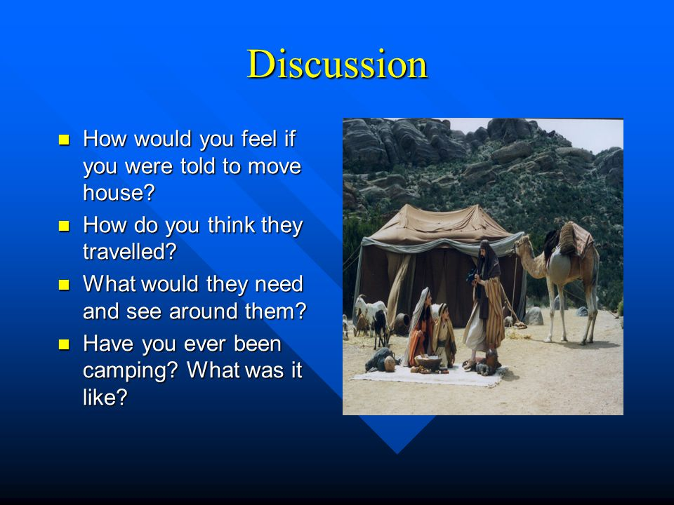 Discussion How would you feel if you were told to move house? How would you feel if you were told to move house? How do you think they travelled? How