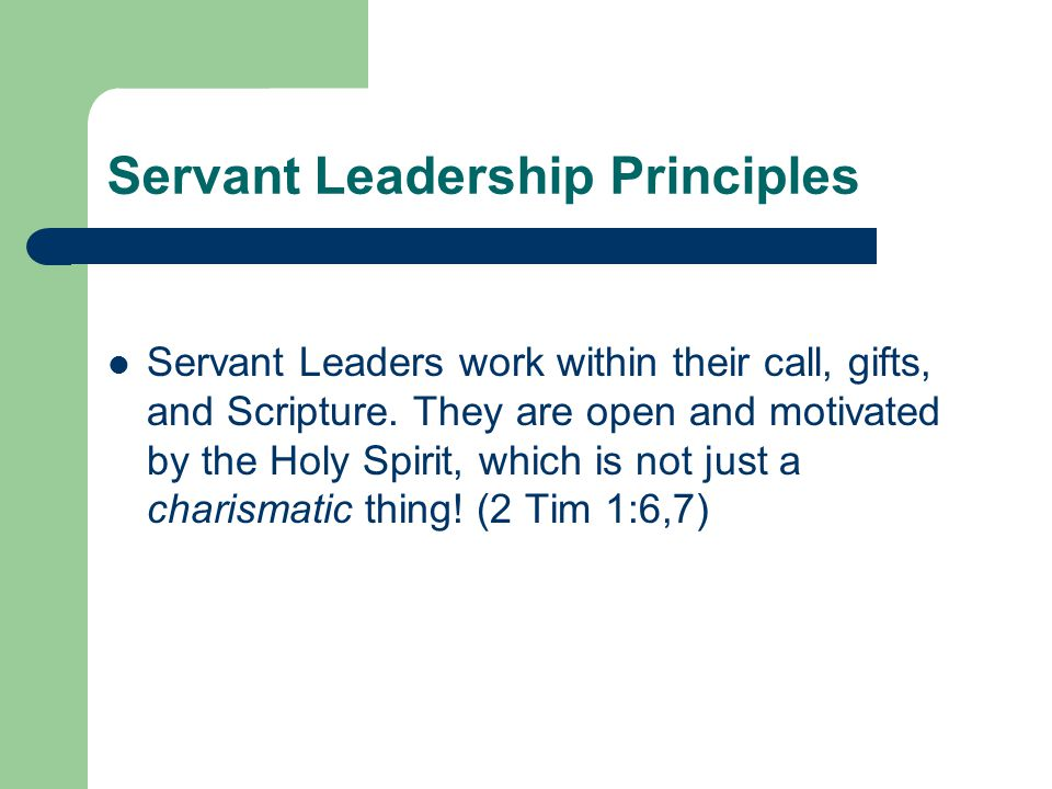 Servant Leadership Principles Servant Leaders work within their call, gifts, and Scripture. They are open and motivated by the Holy Spirit, which is n