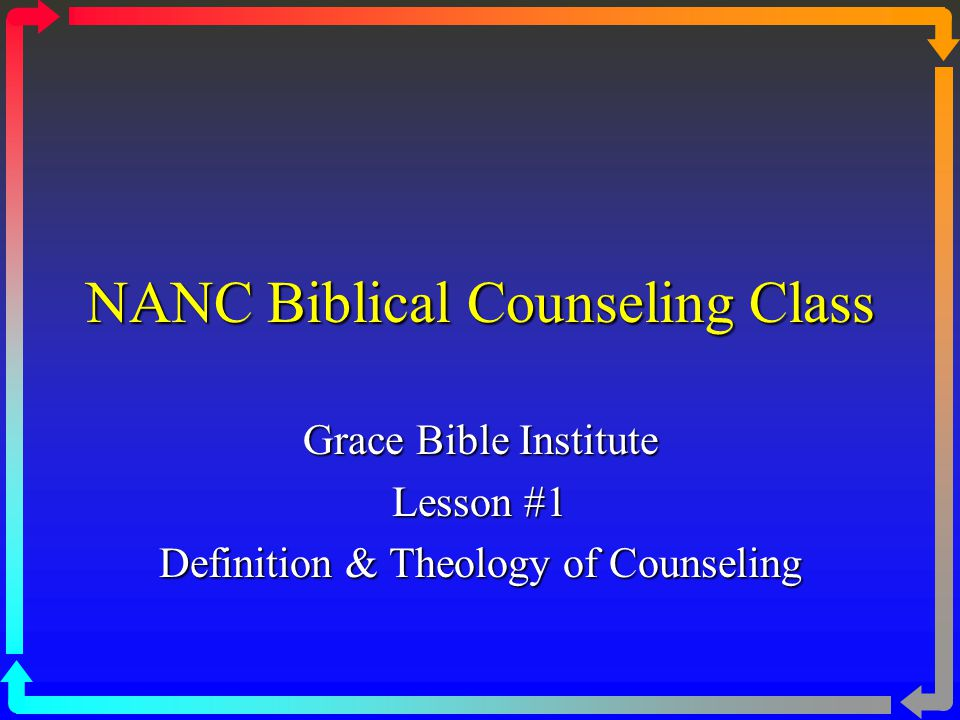 II. The Theological Foundation of Biblical Counseling