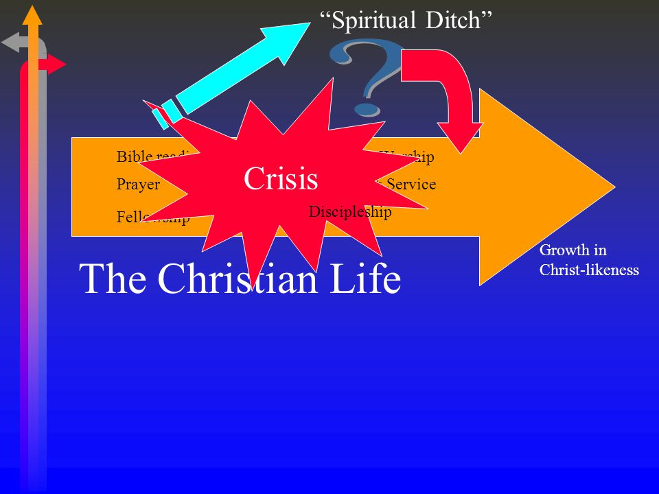The Christian Life Growth in Christ-likeness Bible reading & study Prayer Corporate Worship Fellowship Ministry & Service Crisis Spiritual Ditch Discipleship
