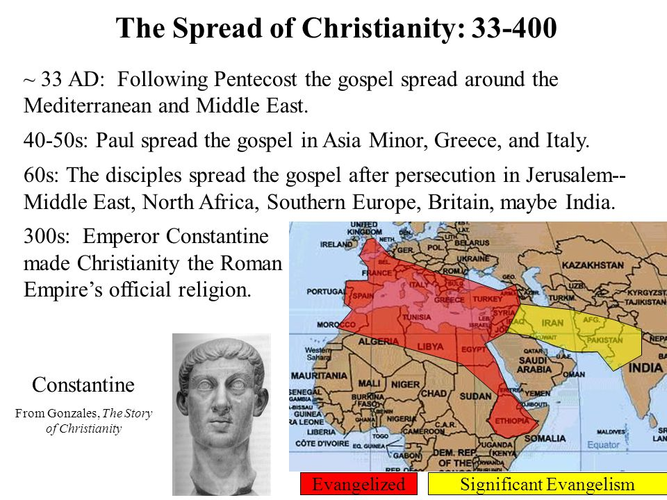 The Spread of Christianity: 400-800 400s: The Barbarians conquered Rome, assimilated Christianity and spread it to Europe.