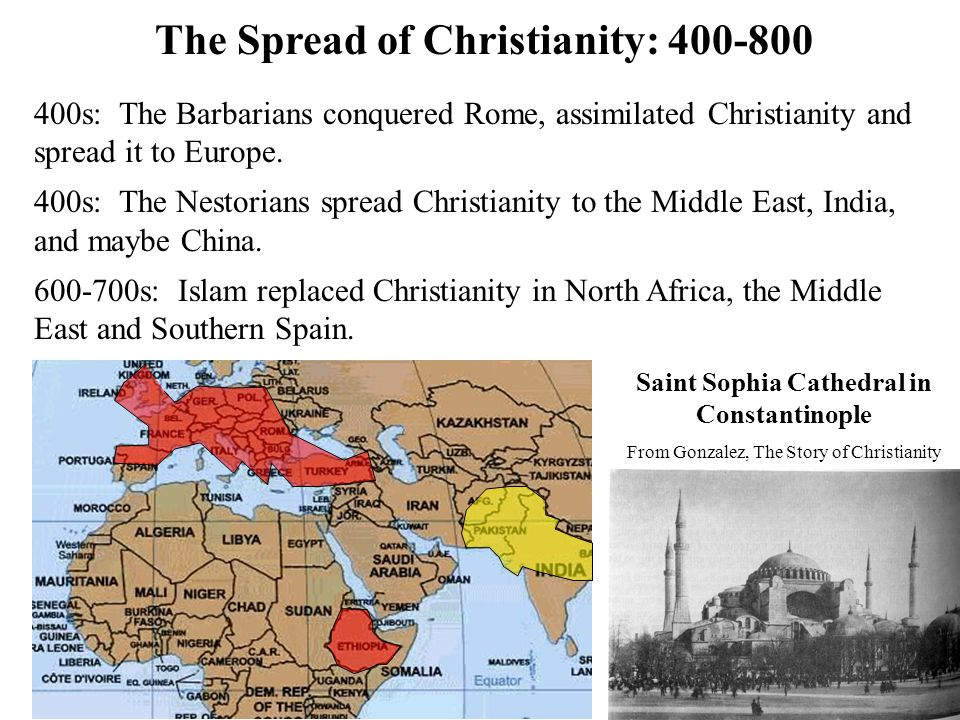 The Spread of Christianity: 800-1200 800-1000s: The Vikings conquered Europe and assimilated Christianity.