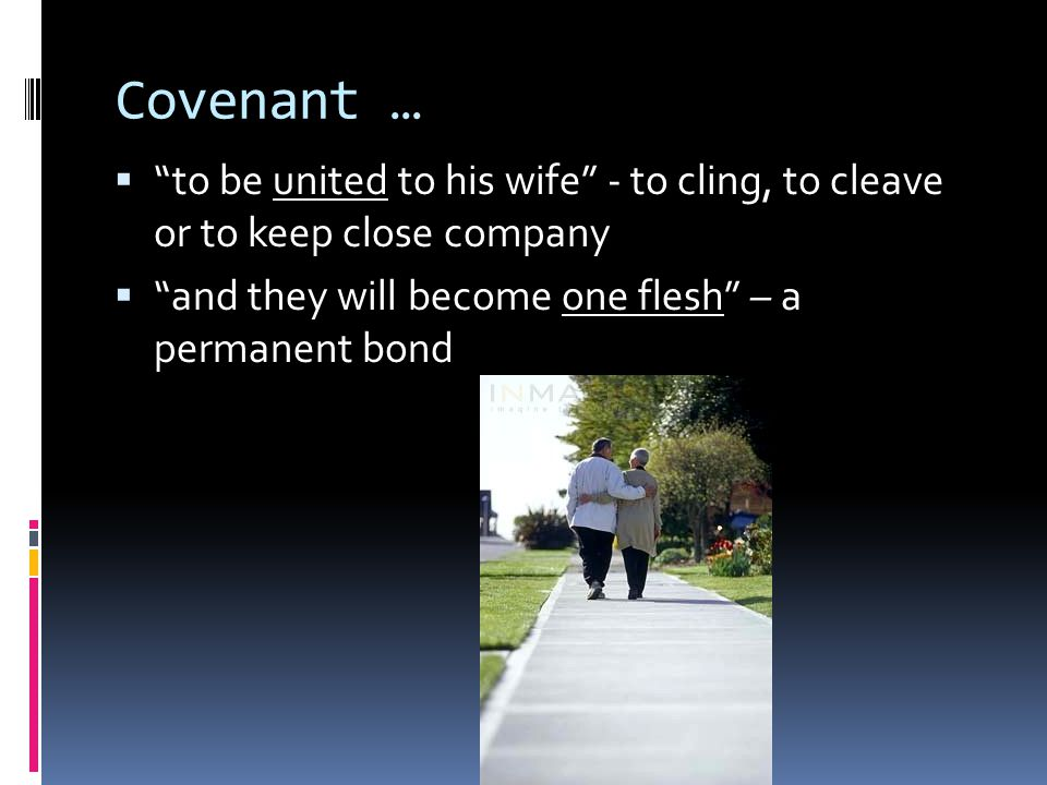 Covenant …  to be united to his wife - to cling, to cleave or to keep close company  and they will become one flesh – a permanent bond