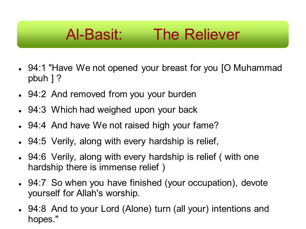 Al-Basit:The Reliever 94:1