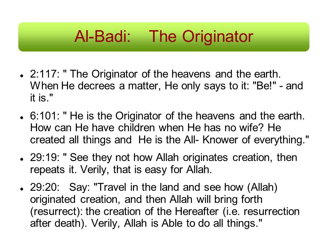 Al-Badi:The Originator 2:117: