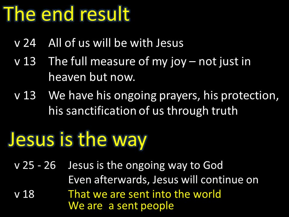 v 24All of us will be with Jesus v 13The full measure of my joy – not just in heaven but now.