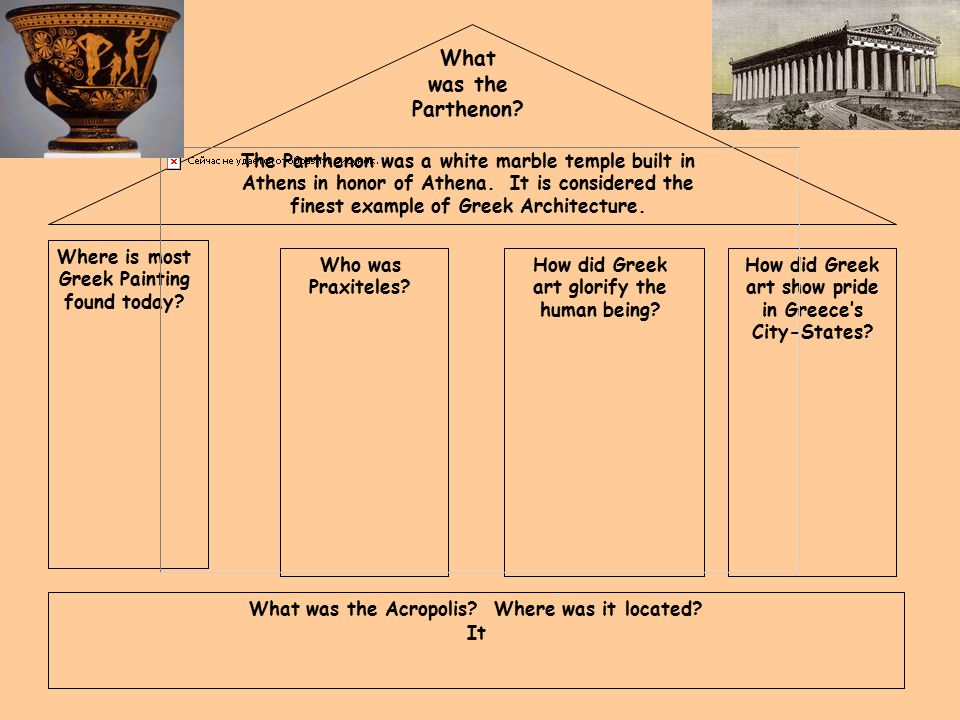 What was the Parthenon. Where is most Greek Painting found today.
