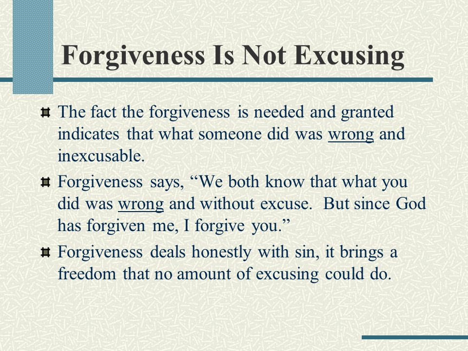 Renounce Sinful Attitudes And Expectations Forgiveness can be hindered by sinful attitudes and unrealistic expectations.