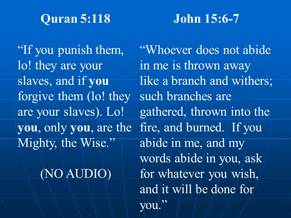 Quran 5:118 If you punish them, lo. they are your slaves, and if you forgive them (lo.