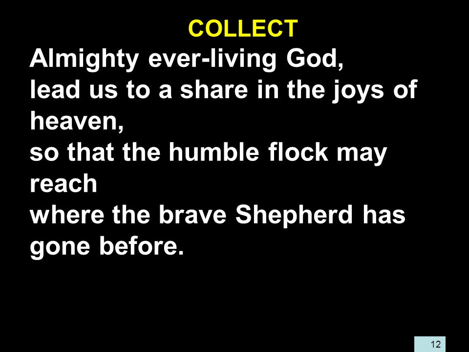 12 COLLECT Almighty ever-living God, lead us to a share in the joys of heaven, so that the humble flock may reach where the brave Shepherd has gone before.