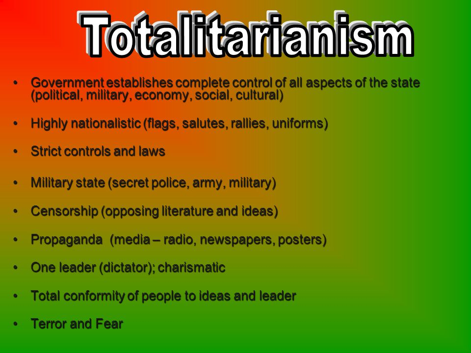 1.DefineTotalitarianism Root word.