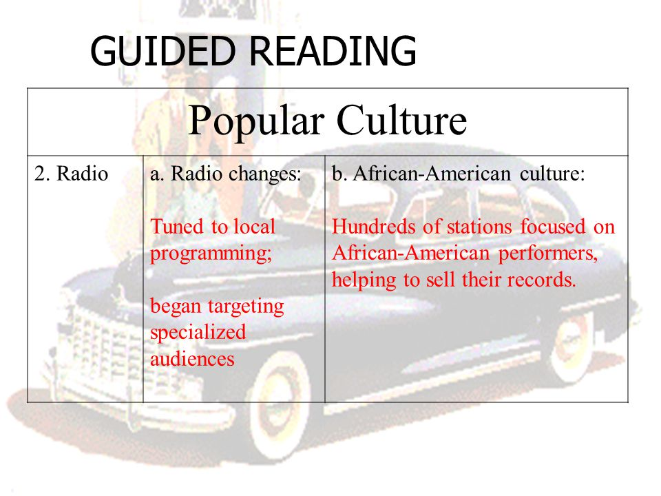 GUIDED READING Popular Culture 2. Radioa. Radio changes: Tuned to local programming; began targeting specialized audiences b. African-American culture