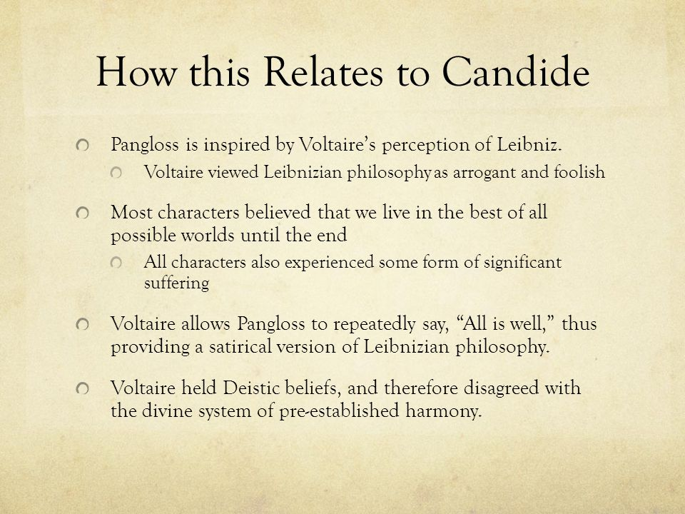 How this Relates to Candide Pangloss is inspired by Voltaire's perception of Leibniz. Voltaire viewed Leibnizian philosophy as arrogant and foolish Mo