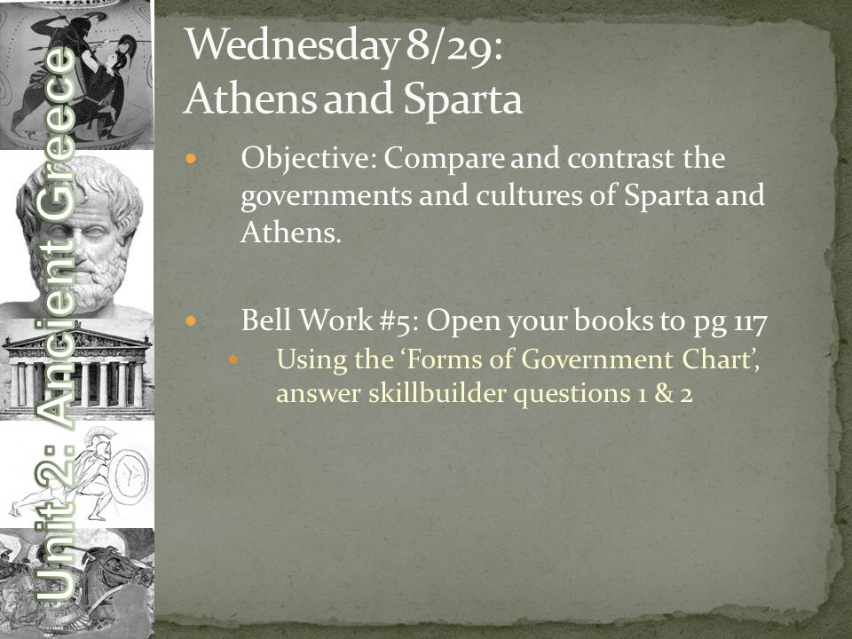 Objective: Compare and contrast the governments and cultures of Sparta and Athens.