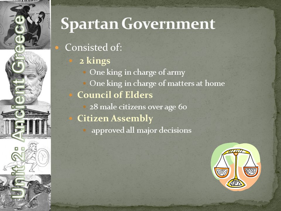 Consisted of: 2 kings One king in charge of army One king in charge of matters at home Council of Elders 28 male citizens over age 60 Citizen Assembly approved all major decisions