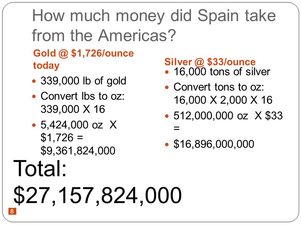 8 How much money did Spain take from the Americas.