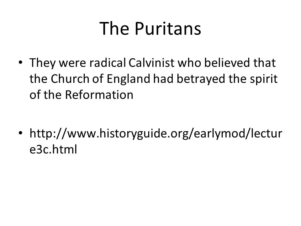 The Puritans They were radical Calvinist who believed that the Church of England had betrayed the spirit of the Reformation http://www.historyguide.org/earlymod/lectur e3c.html