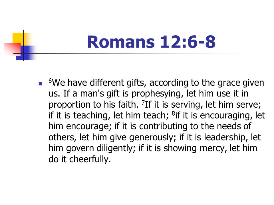 Romans 12:6-8 6 We have different gifts, according to the grace given us. If a man's gift is prophesying, let him use it in proportion to his faith. 7