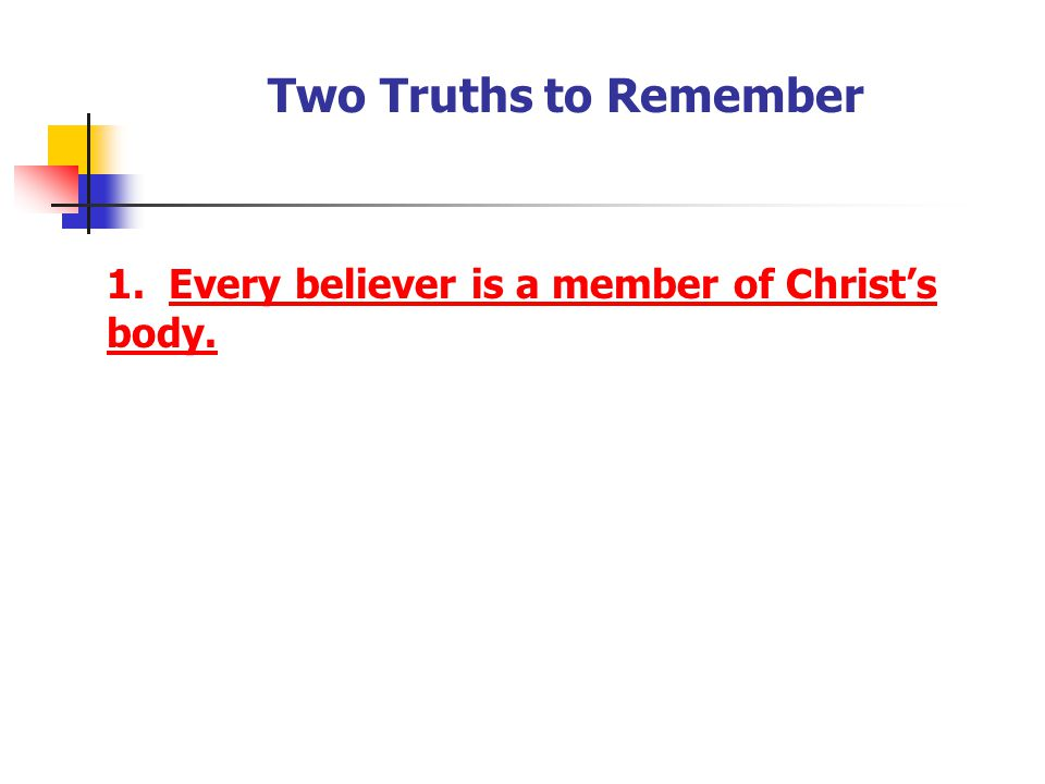 Two Truths to Remember 1. Every believer is a member of Christ's body.