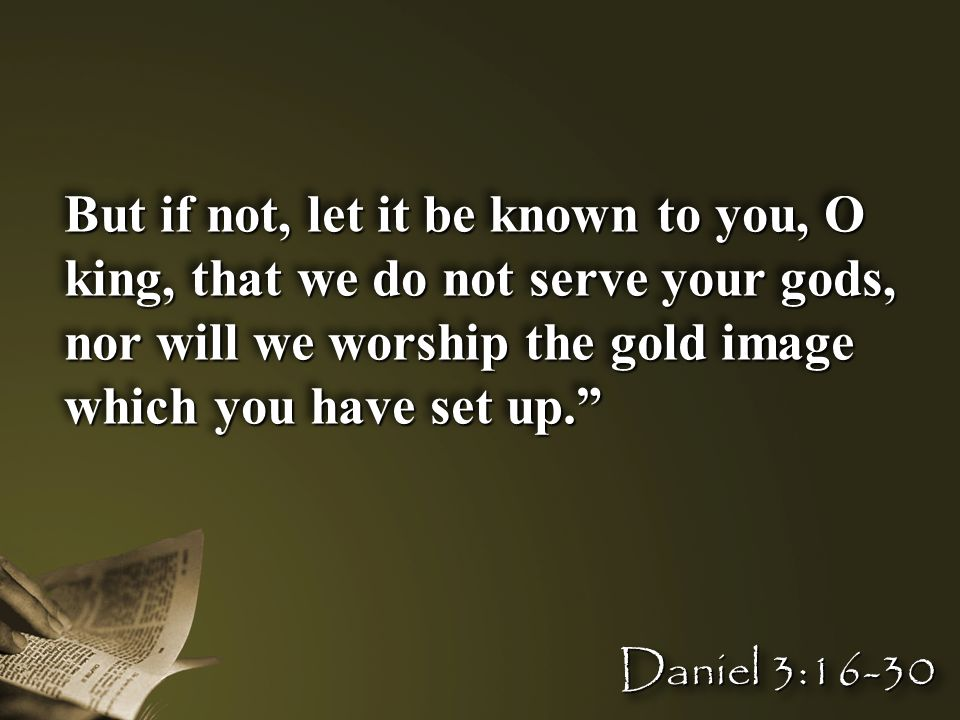 """But if not, let it be known to you, O king, that we do not serve your gods, nor will we worship the gold image which you have set up."""" Daniel 3:16-30"""