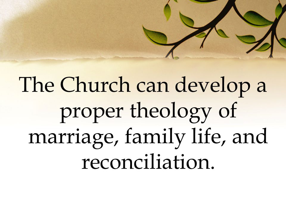 The Church can develop a proper theology of marriage, family life, and reconciliation.