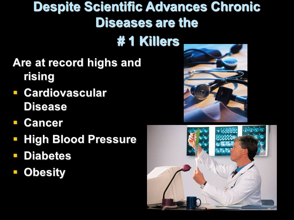 Despite Scientific Advances Chronic Diseases are the # 1 Killers Are at record highs and rising  Cardiovascular Disease  Cancer  High Blood Pressur