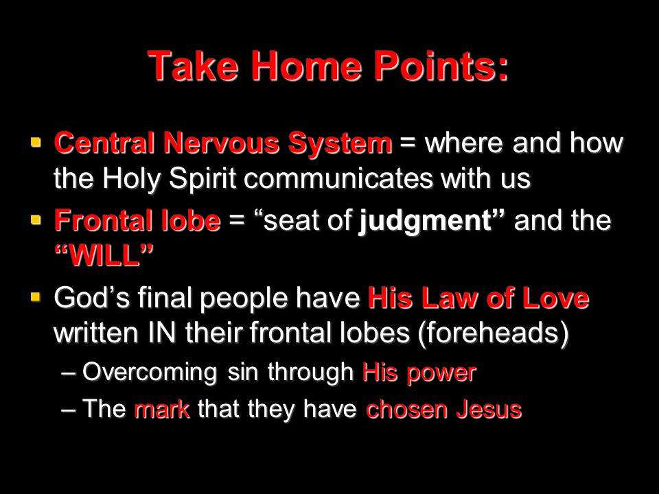 Take Home Points:  Central Nervous System = where and how the Holy Spirit communicates with us  Frontal lobe = seat of judgment and the WILL  God's final people have His Law of Love written IN their frontal lobes (foreheads) –Overcoming sin through His power –The mark that they have chosen Jesus