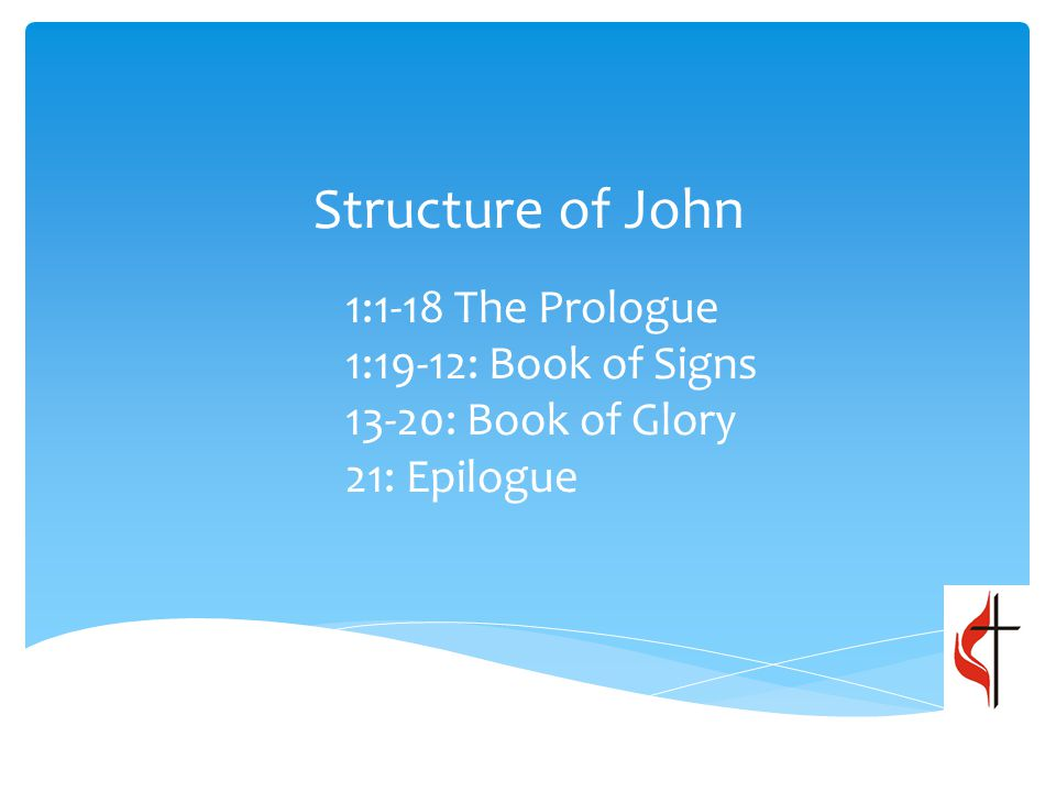 Structure of John 1:1-18 The Prologue 1:19-12: Book of Signs 13-20: Book of Glory 21: Epilogue