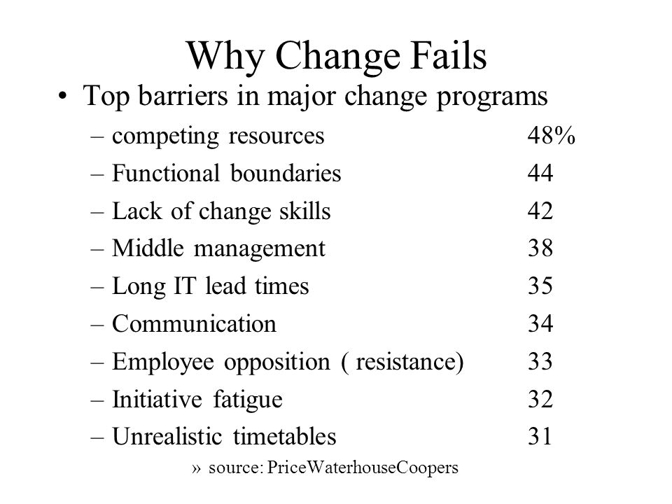 Making Change Succeed Factors that helped the most successful companies achieve their goals –Good communication100% –Strong mandate by senior management95 –Setting intermediate goals and deadlines95 –Having an adaptive plan91 –Having access to adequate resources86 –Demonstrating urgency of change86 –Setting performance measures81 –Delivering early, tangible results ( quick wins) 76 –Involving customers and suppliers early62 –Benchmarking V's competitors62 »source:PriceWaterhouseCoopers