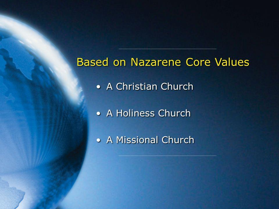 A Christian Church A Holiness Church A Missional Church A Christian Church A Holiness Church A Missional Church Based on Nazarene Core Values