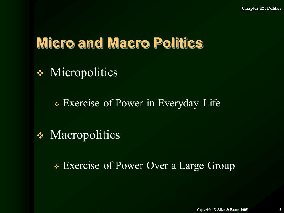 Chapter 15: Politics Copyright © Allyn & Bacon 20053   Micropolitics   Exercise of Power in Everyday Life   Macropolitics   Exercise of Power