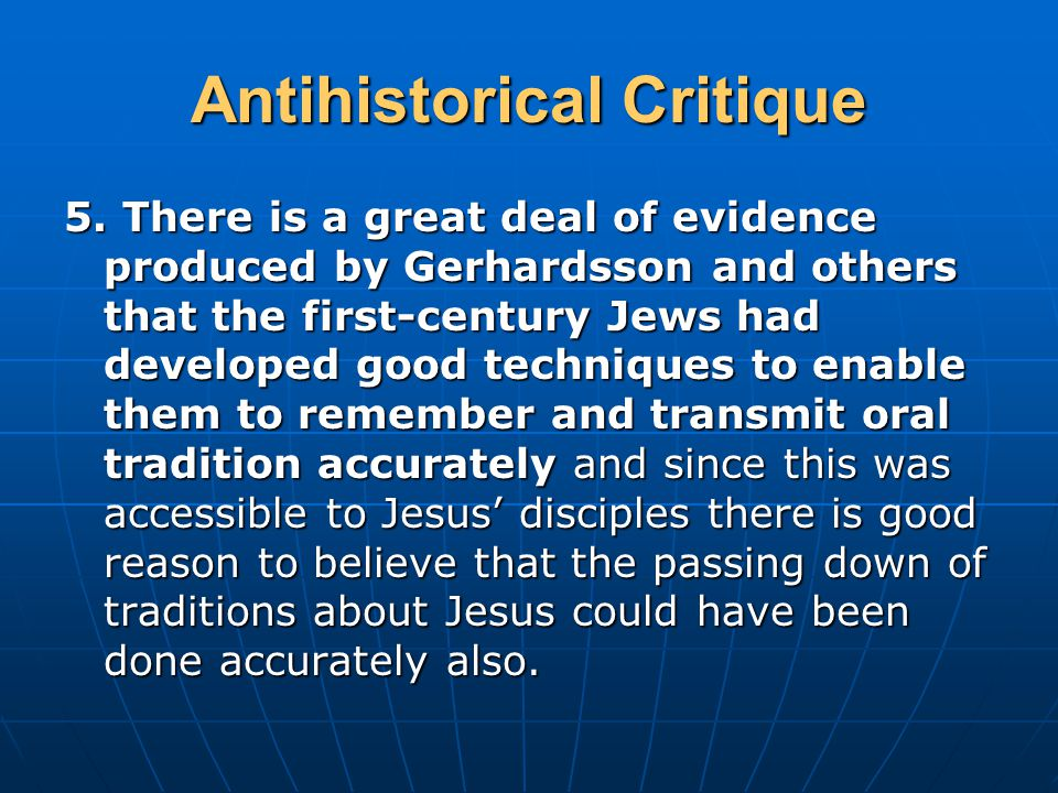 Antihistorical Critique 5.